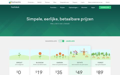 Screenshot of Pricing Page freshdesk.com - Freshdesk Tarieven | Abonnementen vanaf $19 per maand - captured Nov. 20, 2018