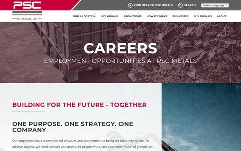 Screenshot of Jobs Page pscmetals.com - Employment Opportunities   PSC Metals - captured July 15, 2018