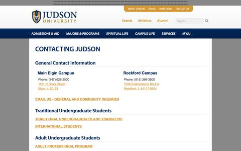 Screenshot of Contact Page judsonu.edu - Contact | Judson University Christian College - captured Jan. 8, 2017