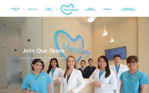Screenshot of Jobs Page metrodental.com.ph - Join Our Team  | Metro Dental - captured Sept. 20, 2018
