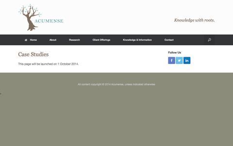 Screenshot of Case Studies Page acumense.com - Case Studies | Acumense - captured Oct. 29, 2014