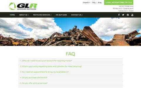 Screenshot of FAQ Page glradvanced.com - recycling metals in Detroit by GLR Advanced Recyling - captured July 6, 2017