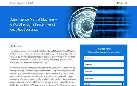 Screenshot of Landing Page microsoft.com - Data Science Virtual Machine – A Walkthrough of end-to-end Analytics Scenarios - captured June 17, 2017