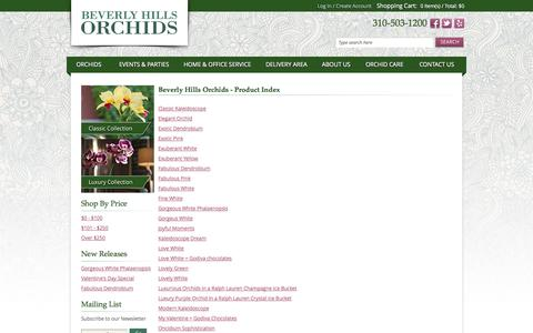 Screenshot of Products Page beverlyhillsorchids.com - Product Index Los Angeles Florist & Online Orchid Delivery | Beverly Hills Orchids - captured Sept. 30, 2014
