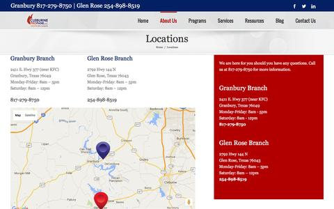Screenshot of Locations Page cleburnepropane.com - Locations - Cleburne Propane - captured Jan. 28, 2016