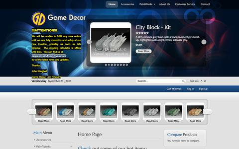 Screenshot of Home Page gamedecor.com - Home page - captured Sept. 23, 2015