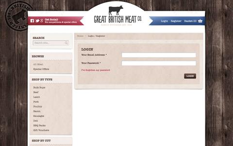 Screenshot of Login Page greatbritishmeat.com - Great British Meat CO. - captured Oct. 3, 2014