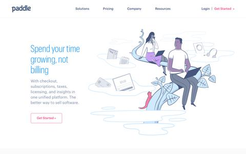 Screenshot of Home Page paddle.com - Paddle - The better way to sell software - captured June 2, 2018