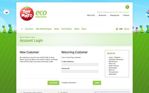Screenshot of Login Page toymato.com - Account Login - captured Oct. 7, 2014