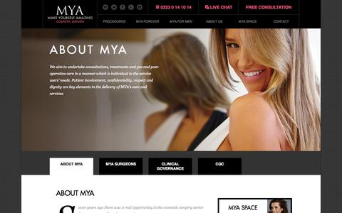 Screenshot of About Page mya.co.uk - About MYA | Cosmetic Surgery Experts | MYA - captured Oct. 31, 2014