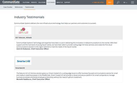 Screenshot of Testimonials Page communigate.com - CommuniGate Pro - captured July 20, 2019
