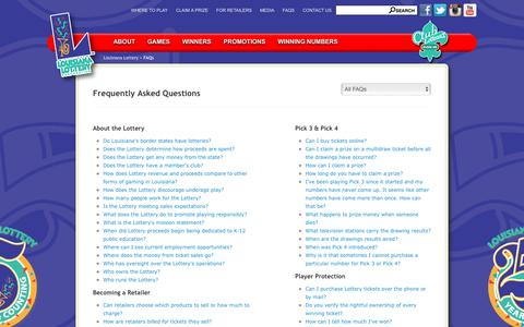 Screenshot of FAQ Page louisianalottery.com - Frequently Asked Questions - Louisiana Lottery - captured Sept. 10, 2016