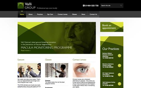 Screenshot of Home Page valliopticians.co.uk - Friendly independent opticians in West Yorkshire — Valli Opticians - captured Oct. 10, 2014
