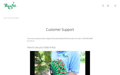 Screenshot of Support Page baganut.com - Bag-A-Nut Customer Support | Bag-A-Nut - captured Oct. 9, 2017