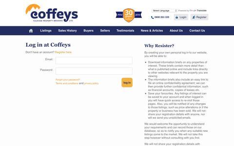 Screenshot of Login Page coffeys.co.nz - Log in at Coffeys - captured Nov. 7, 2016
