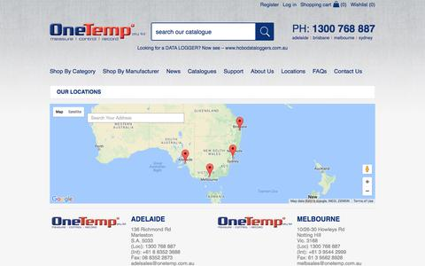Screenshot of Locations Page onetemp.com.au - Our Locations | OneTemp - captured Nov. 29, 2016