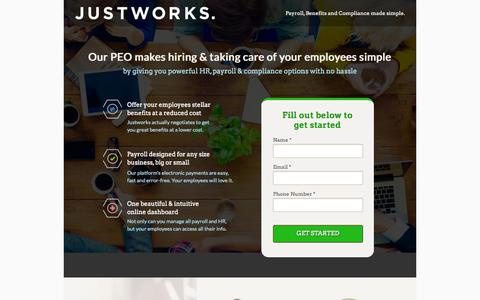 Screenshot of Landing Page justworks.com - Justworks - PEO - captured Oct. 27, 2014