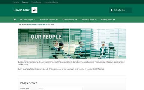 Screenshot of Team Page lloydsbank.com - Our People - Lloyds Bank Commercial Bank - captured July 15, 2018