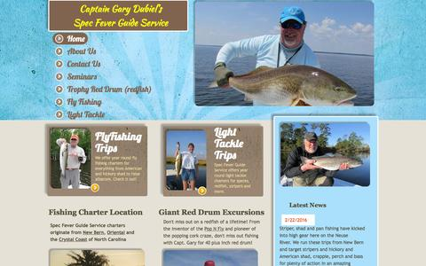 Screenshot of Home Page specfever.com - Spec Fever Guide Service - Fishing Charter - captured Feb. 22, 2016
