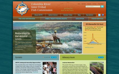 Screenshot of Home Page critfc.org - CRITFC   Restore, conserve Pacific Northwest Salmon - captured Oct. 2, 2014