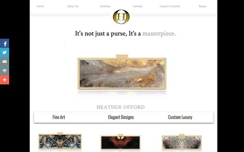 Screenshot of Home Page heatherofford.com - Painted Handbag, Painted Purse, Painted Clutch By Heather offord - Women Handbags, Hand Painted Clutches, Hand Painted Handbags - captured Oct. 2, 2014