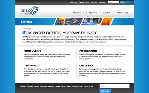 Screenshot of Services Page sisconet.com - Services - Systems Integration Specialists Company Systems Integration Specialists Company - captured Nov. 18, 2016