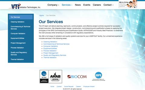 Screenshot of Services Page validation.org - Our Services - Validation Technologies, Inc.Validation Technologies, Inc. - captured Oct. 18, 2018