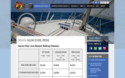 Screenshot of Pricing Page ltdsailing.com - Grenada Sailing School Pricing - LTD Sailing - captured Oct. 28, 2014