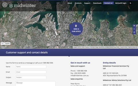 Screenshot of Contact Page midwinter.com.au - Contact Us | Midwinter - captured Oct. 7, 2014