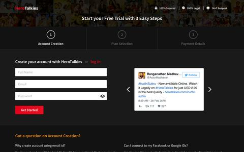 Screenshot of Signup Page herotalkies.com - HeroTalkies - Tamil Movies Online in HD Quality-Start Free Trial Now - captured Aug. 5, 2016