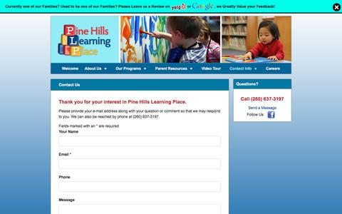Screenshot of Contact Page pinehillskids.com - Contact Us   Pine Hills Learning Place - captured July 3, 2018