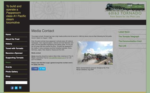 Screenshot of Press Page a1steam.com - Media Contact - The A1 Steam Locomotive Trust - The A1 Steam Locomotive Trust - captured Dec. 1, 2016