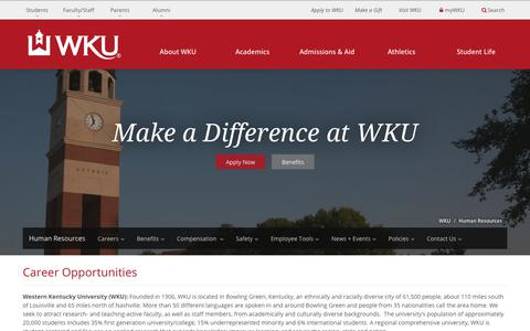 Screenshot of Jobs Page wku.edu - Career Opportunities | Western Kentucky University - captured March 1, 2018