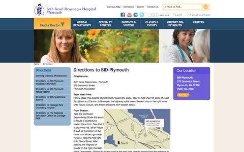 Screenshot of Maps & Directions Page bidplymouth.org - Directions Plymouth, Massachusetts (MA) - Beth Israel Deaconess - captured Oct. 5, 2014