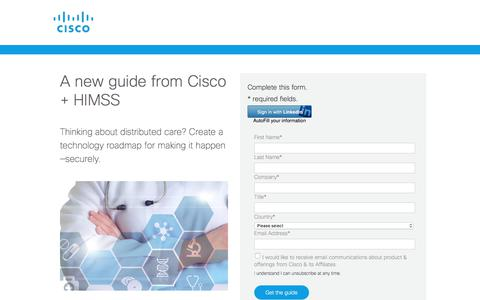 Screenshot of Landing Page cisco.com - Your Technology Roadmap for Distributed Care | Cisco - captured Sept. 19, 2018
