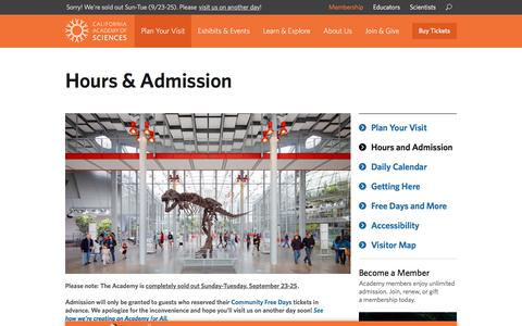 Screenshot of Hours Page calacademy.org - Hours & Admission | California Academy of Sciences - captured Sept. 23, 2018