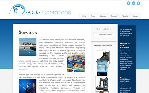 Screenshot of Services Page aquaoperations.com - Services - captured Oct. 4, 2014