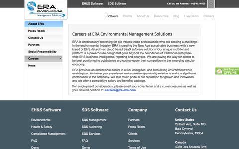 Screenshot of Jobs Page era-environmental.com - Working at ERA Environmental - captured Oct. 15, 2016