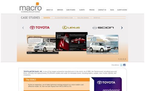 Screenshot of Case Studies Page macrocommunications.com - Macro Communications - captured Sept. 30, 2014