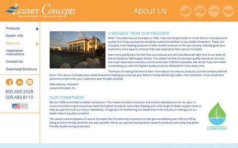 Screenshot of About Page leisureconcepts.com - About Us » Leisure Concepts - captured July 13, 2016