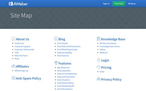 Screenshot of Site Map Page aweber.com - Sitemap - captured Sept. 30, 2015