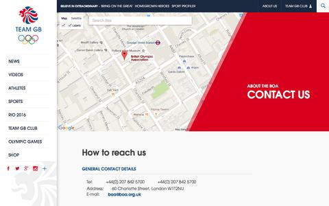 Screenshot of Contact Page teamgb.com - Contact the BOA | Team GB - captured Jan. 17, 2016