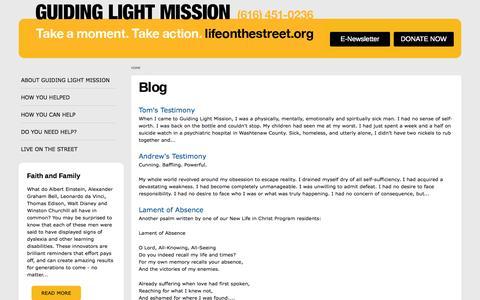 Screenshot of Blog lifeonthestreet.org - Blog | Guiding Light Mission - captured Oct. 3, 2014