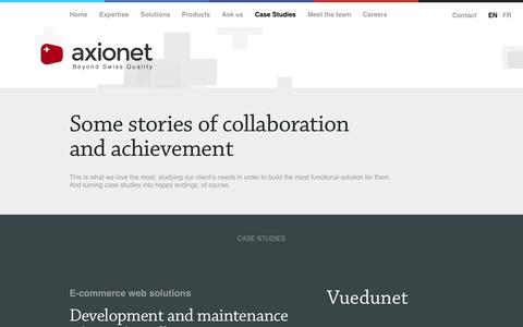 Screenshot of Case Studies Page axionet.ch - e-commerce website in Switzerland | eCom portal development in India - captured Oct. 4, 2014