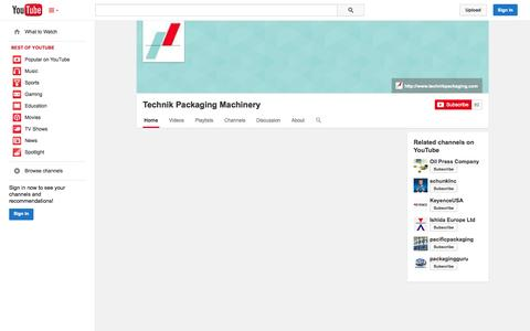 Screenshot of YouTube Page youtube.com - Technik Packaging Machinery  - YouTube - captured Nov. 3, 2014