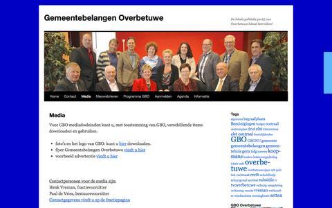 Screenshot of Press Page gbo.nu - Media | Gemeentebelangen Overbetuwe - captured Oct. 2, 2014
