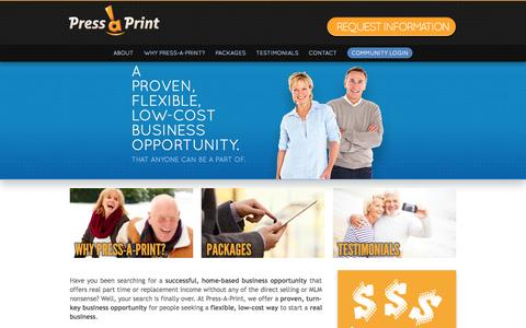 Screenshot of Home Page About Page pressaprint.com - Best Work From Home Jobs | Start A Print Business | Work From Home Business Opportunities - captured Sept. 23, 2014