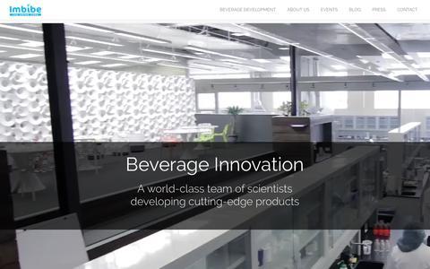 Screenshot of Home Page imbibeinc.com - Beverage Innovation | Imbibe - captured Sept. 25, 2016