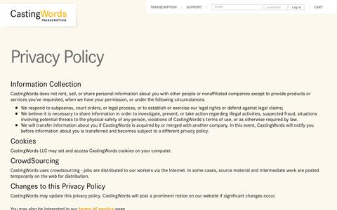 Screenshot of Privacy Page castingwords.com - CastingWords Privacy Policy - captured Dec. 7, 2015