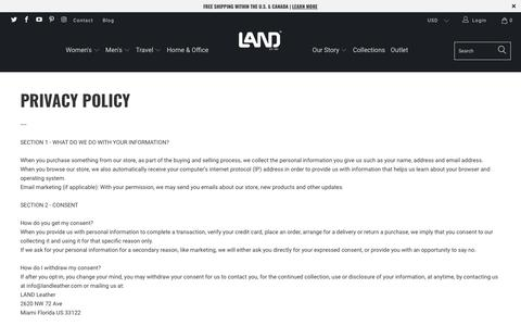 Screenshot of Privacy Page landleather.com - Privacy Policy - LAND Leather - captured Sept. 25, 2018